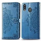 Bear Village Hülle für Galaxy M20, PU Lederhülle Handyhülle für Samsung Galaxy M20, Brieftasche Kratzfestes Magnet Handytasche mit Kartenfach, Blau