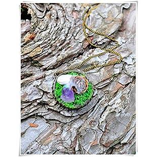 heng yuan tian cheng Amethyst, Larch Cone necklace, Snail necklace, Forest necklace, Raw Amethyst Necklace, Miniature terrarium necklace,