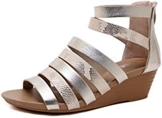 CYBLING Womens Gladiator Strappy Open Toe Wedge Sandals Comfortable Platform Snakeskin Summer Shoes
