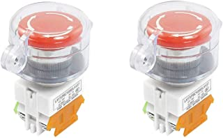 JMAF 2 Pcs 22mm Mushroom Latching Emergency Stop Push Button Switch With Waterproof Cover 1NO 1NC