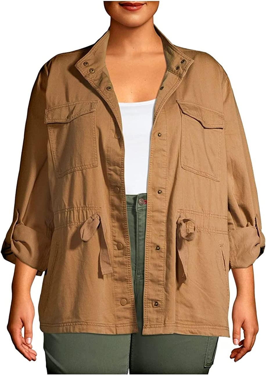 Terra & Sky Women's Plus Size Snap Front Utility Jacket with Rolled Tab Sleeve