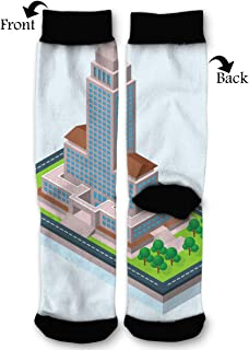 Leisue Isometric Los Angeles City Hall Illustration High Ankle Sock, Soft Cotton Breathable Polyester Crew Socks for Women Men