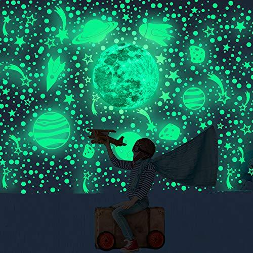 461 PCS-Wandaufkleber, leuchtende Planetenastronauten sowie Mond- und Sternaufkleber. Deckenaufkleber eignen sich zur Dekoration von Mädchenzimmern und Kindergeschenken.