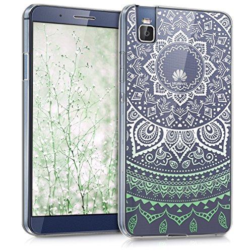 kwmobile Hülle kompatibel mit Huawei ShotX - Handyhülle - Handy Hülle Indische Sonne Mintgrün Weiß Transparent