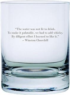 Winston Churchill Zitat geätzt 313 ml Stolzle New York Kristall Rocks Glas