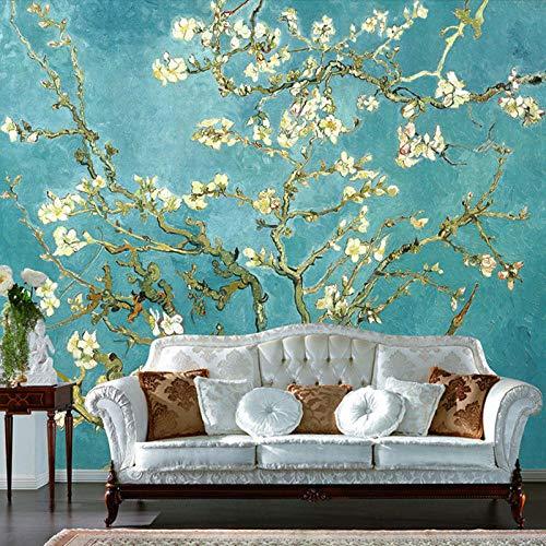 Fototapete 200x150 cm -4 Stück Van Goghs Mandelblüte Vlies Tapeten Wandtapete XXL Moderne Wanddeko Design Wand Dekoration Wohnzimmer Schlafzimmer Büro Flur Fototapeten