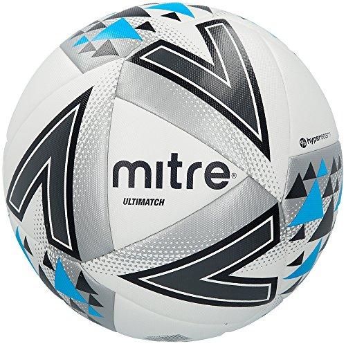 Mitre, Ultimatch Match, Pallone Da Calcio, Unisex Adulto, Bianco (White/Silver/Blue), 5