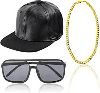 80s 90s Rapper Hip Hop Costume Snapback Baseball Cap DJ Sunglasses Gold Plated Chain