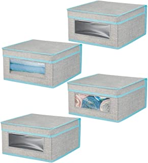 mDesign boite de rangement empilable tissu pour vêtements, linge de lit (lot de 4) – bac de rangement moyen à fenêtre & co...