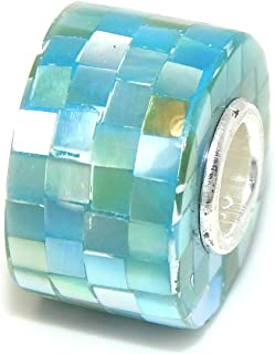 ICYROSE Solid 925 Sterling Silver Blue Cylindrical Mosaic Pattern Charm Bead