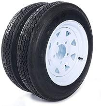 AutoForever 2-Pack 12 Inch 4.80-12 480-12 LRB 4 Ply Bias Trailer Tires & Rims 4.80 x 12 5 Lug/4.5