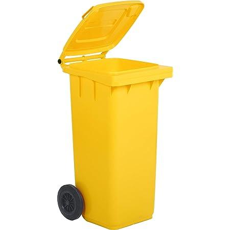 Bidone carrellato per la raccolta differenziata rifiuti Mobil Plastic 120 Lt per uso esterno - giallo (UNI EN 840)