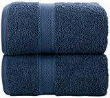 LUXEWARE - FEEL THE LUXURY Daily Use Jumbo Extra Large XL Bath Sheet Towel Set (90 x 180 cm) - 2 Piece Bath Sheets Set - 500 GSM 100% Cotton Absorbent Quick Dry (Navy Blue)