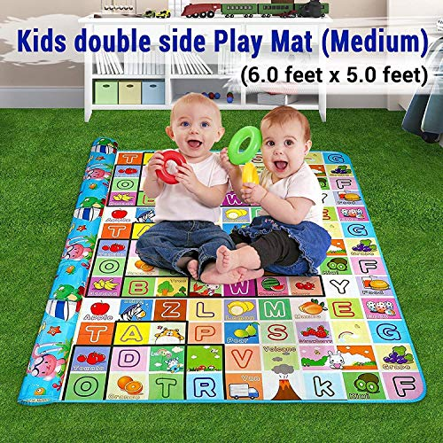 Skylofts Waterproof Double Side Baby Play Crawl Floor Mat for Kids Picnic School Home (Large Size -6 X 5 ft, Multicolour) with Zip Bag to Carry