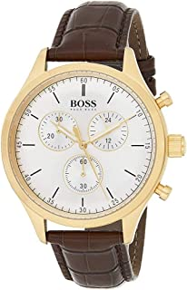Hugo Boss Men's White Dial Leather Band Watch - 1513545