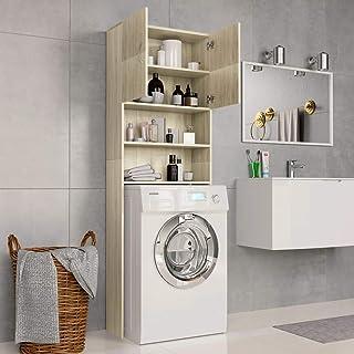 Festnight Armario de Lavadora Aglomerado Mueble para baño con Hueco para Lavadora Mueble Auxiliar para WC Lavadora o Secad...