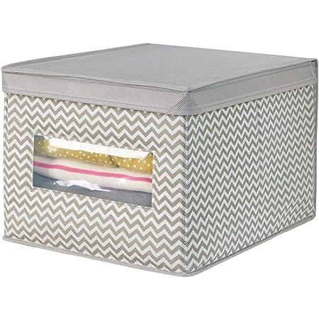 mDesign panier tissu avec couvercle – la boîte de rangement tissu idéal – crée de l'ordre et un espace de rangement – panier de rangement polyvalent – couleur : taupe/nature