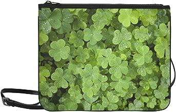 Beautiful Green Clover Closeup St Patrick Day Co Pattern Custom High-grade Nylon Slim Clutch Bag Cross-body Bag Shoulder Bag