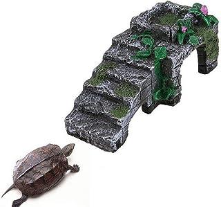 JKGHK大型タートルバスキングプラットフォーム樹脂両生類亀爬虫類プラットフォームタンク水生水岩はしごテラリウム島登りの装飾