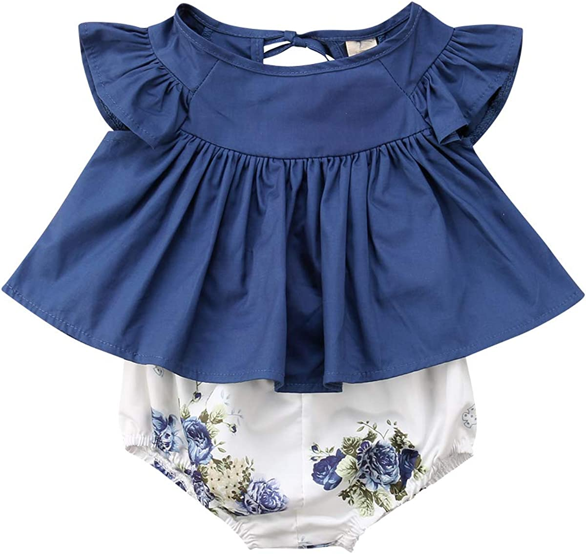 Newborn Baby Girls Challenge the lowest price of Japan ☆ Clothes Ruffles Flutter OFFicial shop Sleeve Denim To Dress