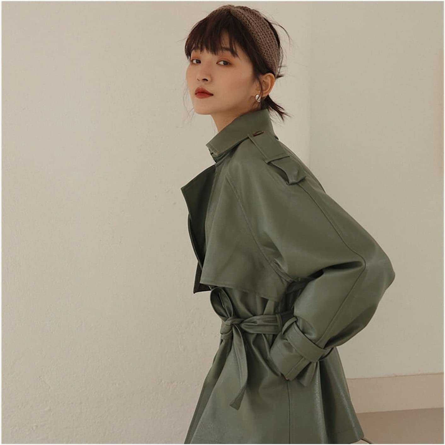 Spring Autumn Women Casual Lapel Pu Jacket Coat Simplicity Loose Leather Jacket with Belt Office Lady (Color : Green, Size : S.)