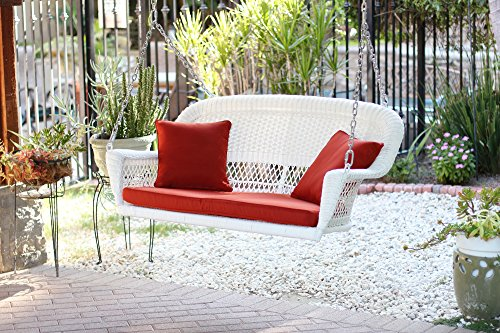 Jeco Resin Wicker Porch Swing with Cushion in White and Red