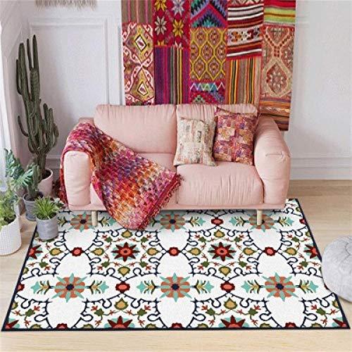 Moderno Alfombra Diseño Alfombra Flor Grande geométrica Azul Grande Rojo verde-120 * 160CM,para Sala, comedór Dormitorio alfombras, fácil de Limpiar