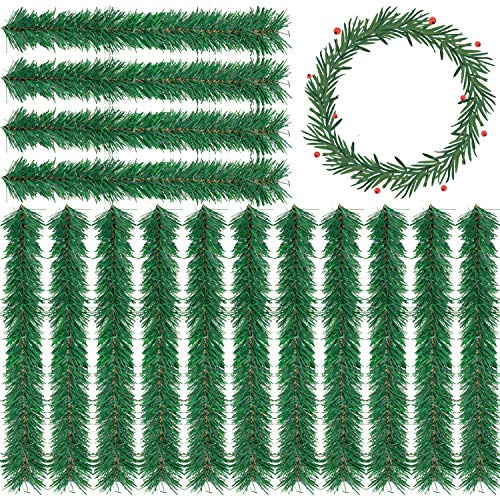 Whaline 15 Pcs Christmas Garland Decoration Artificia Pine Garland, 11.8 Inch Faux Pine Greenery Stems Wreath Twist Ties for Holiday Decor Christmas DIY Crafts, Outdoor Indoor Xmas Party Decorations