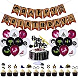 33 Pieces Harry Potter Party Supplies, Birthday Party Decorations Set, Happy Birthday Banner-20 Pcs Balloons For Boys Girls Theme Party Favor