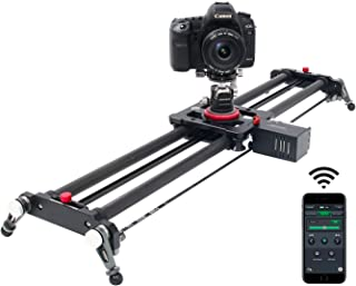 Camera Slider, ASHANKS Bluetooth APP Motorized Electric Tracking Track Dolly Slider Carbon Fiber Rail for DSLR Camera Time Lapse and Follow Focus Video Shot,120 Degree Panoramic Shot, 31