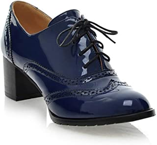 Women's Lace up Wingtip Oxford Shoes Classic Fashion Patent Leather Chunky Heel Bootie