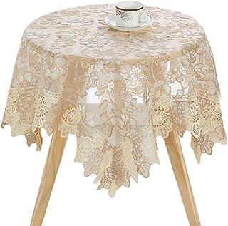 Zhaoke Nappe carrée 90 x 90 cm en dentelle avec broderie pour table ronde, lavable pour mariage, fête #2