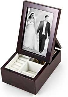 Ultra-Modern Music Box with Fold-Up Photo Frame - Solid Wood Jewelry Box with Compartment – Musical Jewelry Box with Picture Frame (6 X 4) - Choose Custom Song for Music Box from 454 Song Choices