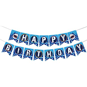 Shark Happy Birthday Kits Banner,12 PCS Paper Shark Glasses,Party Decoration Supplies for Kids Birthday Wedding Party Decor