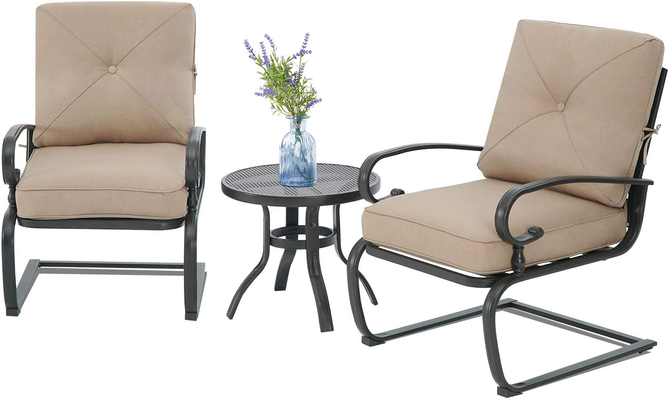 Cemeon Outdoor 3 Pcs Patio Bistro Metal Spring Max gift 53% OFF Bi Set and Chairs