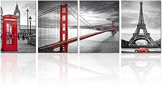 Visual Art Decor Black and White Red Image Wall Decor Prints Living Room San Francisco Golden Gate Bridge Eiffel Tower London Booth Big Ben Picture Framed Canvas Wall Art (Medium)