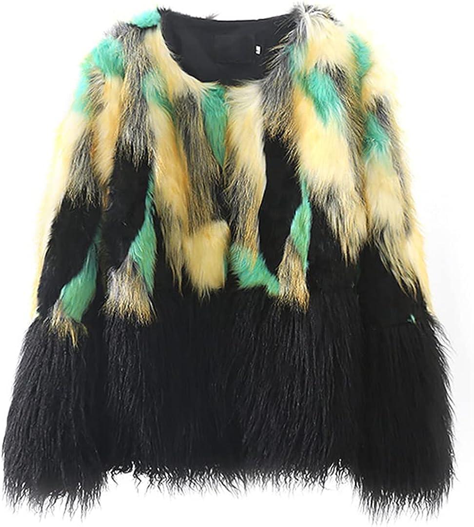 Warm Faux Fur Coat Women Jacket Plus Size Mixed Color Plush Overcoat