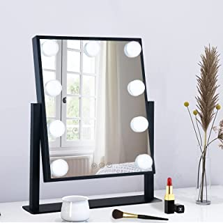 BWLLNI Lighted Makeup Mirror Hollywood Mirror Vanity Mirror with Lights, Touch Control Design 3 Colors Dimable LED Bulbs D...