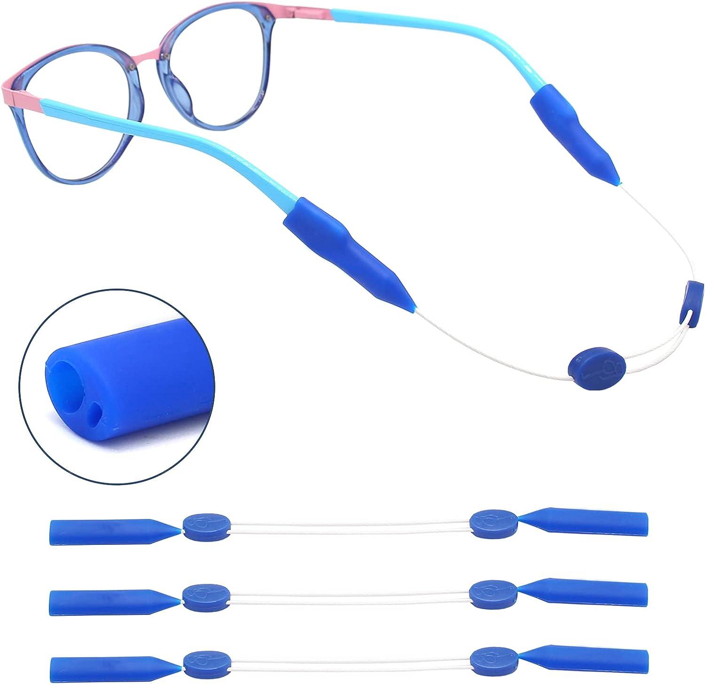 ANYGIFT 2021 Newest 2 Holes Kids Glasses Strap Eye Glasses String Strap (12 inch), Navy Blue Sunglasses Strap for Men Women Kids 3 Pack
