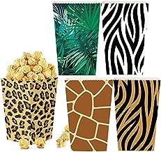 HYOUNINGF 20 PCS Animal Print Party Bags - Jungle Safari Party Favor Bags Animals Print Popcorn Boxes for Jungle Safari Themed Party Supplies