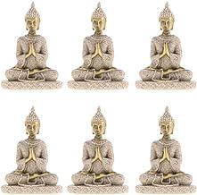 Blesiya 6 Pcs Asian Chinese Thailand Buddha Statue Figurine for Home Car Decoration