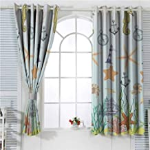 Seahorse Sea Creatures Lighthouse Nautical Anchor with Sail Boats Ocean The Coastal Seaside Seashore Marine Soundproof Curtains for Bedroom Yellow Khaki Green Baby Blue Sliding Curtains for Patio Dec
