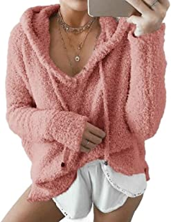 neveraway Womens Hoodies Drawstring Casual Loose Fuzzy Sweatshirts Top Blouse