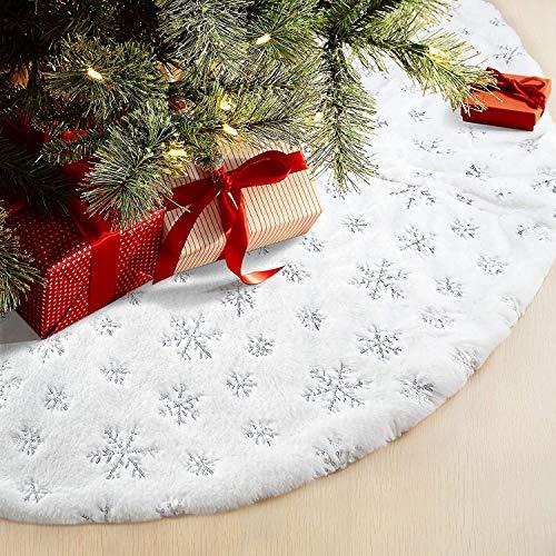 Powerole - Gonna per albero di Natale, 122 cm, grande, in finta pelliccia, con fiocchi di neve, super morbida, spessa, per decorazione albero di Natale (argento, 122 cm)