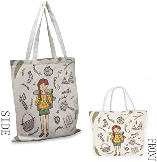 Explore Washable shopping bag Hiker Girl with a Backpack with Doodle Boho Ethnic Ornate Native American Elements Handmade shopping bags W15.75 x L17.71 Inch Multicolor