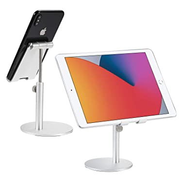 EPULY Cell Phone Stand, Adjustable Angle Height Phone Holder Dock for Desk, Compatible with All Mobile Phones, iPhone, Switch, iPad, Tablet (up to 10 inch), Silver