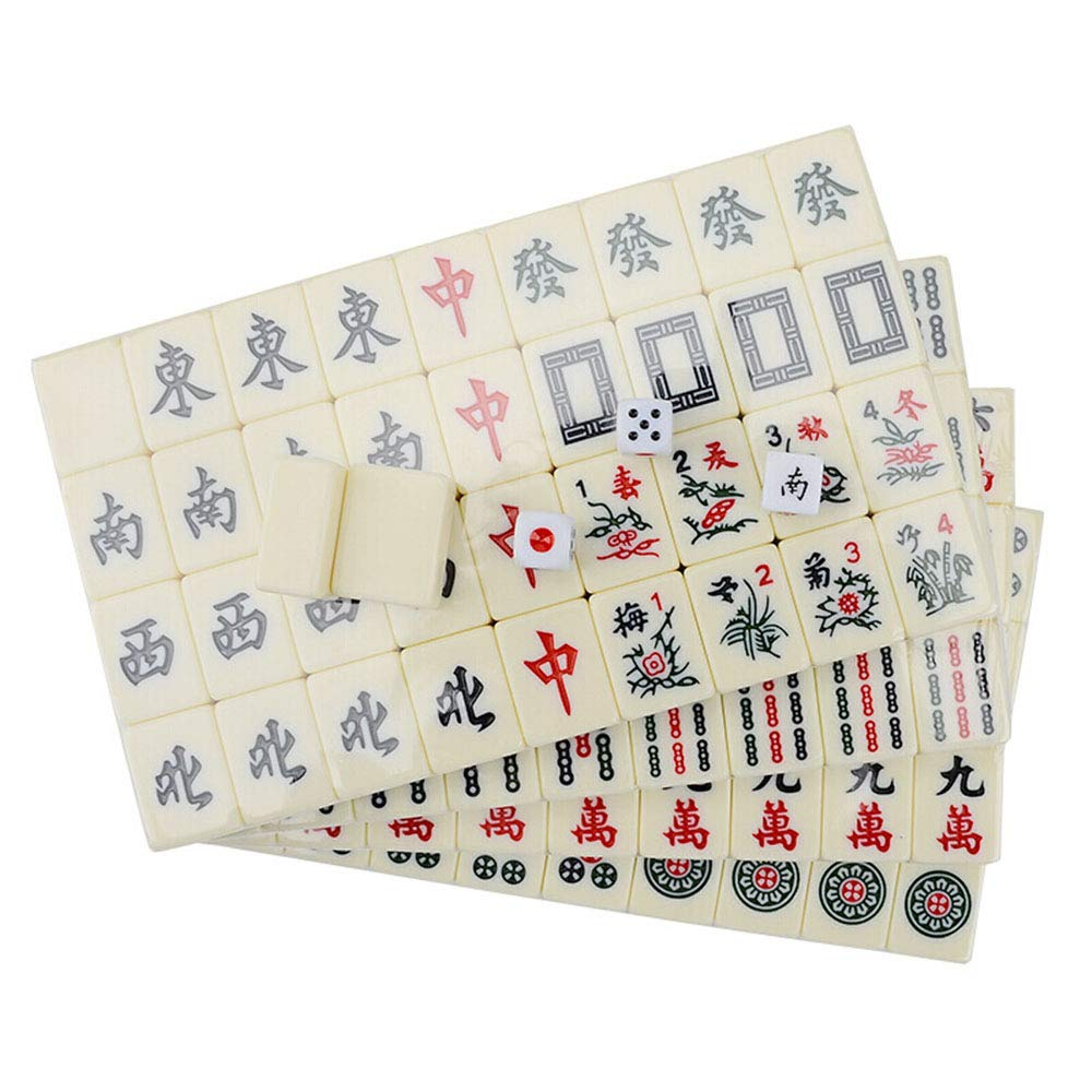 LEERAIN Mahjong Club Set Juego Viaje Mahjongg/Mahjong Juego Juego Mesa Azulejos Chino EstáNdar Juego Juego Mahjong PortáTil para Fiesta En Casa 30 * 20 * 15 mm 144 Piezas: Amazon.es: Deportes y aire libre