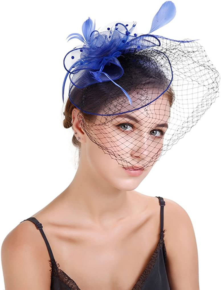 Belyee Feather Fascinator Hats for Women Party Veil Hats with Headband Hair Clip