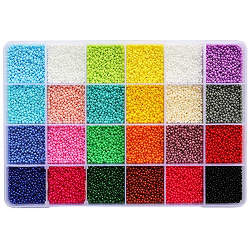 BALABEAD Size Almost Uniform Seed Beads 24000pcs in Box Opaque Color Seed Beads 24 Color Assortment 12/0 Glass Craft Beads 2mm Seed Beads for Jewelry Making, Hole 0.6mm (1000pcs/Color, 24 Colors)