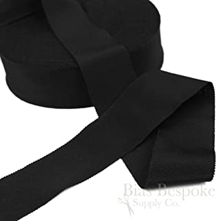 3 Yards of Vera 2'' Cotton & Viscose Petersham Grosgrain Ribbon, Black, Made in Italy